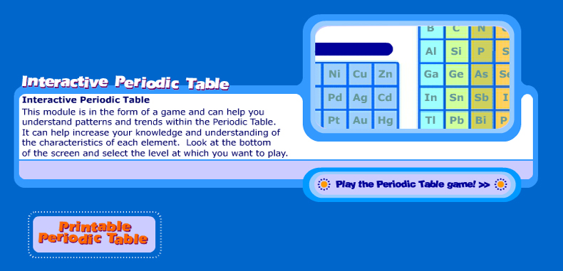 Science Games and an Interactive Periodic Table for English teachers