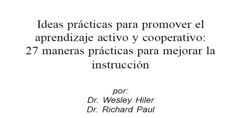Ideas prácticas para promover el aprendizaje activo y cooperativo guía en PDF