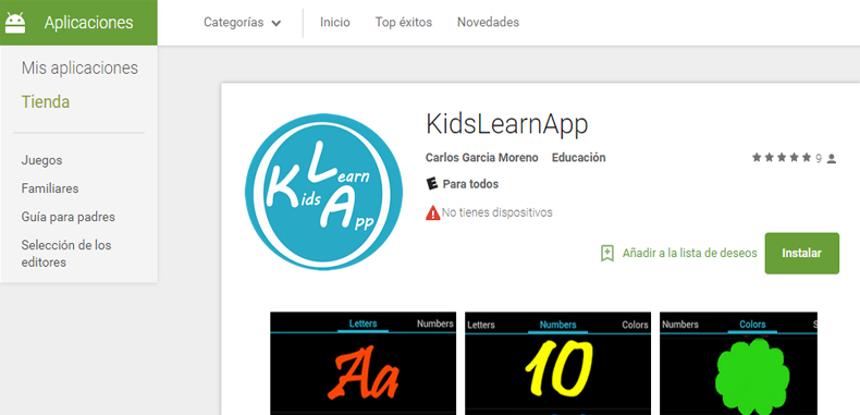 Aplicación Android Educativa  (gratuita) para los más pequeños  KidsLearnApp
