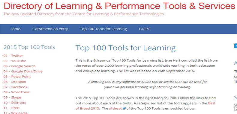 Las 100 mejores herramientas de aprendizaje del 2015