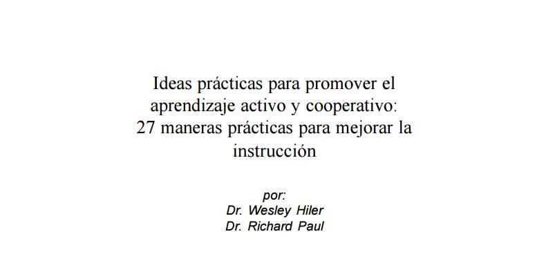 27 Ideas prácticas para promover el aprendizaje activo y cooperativo en pdf