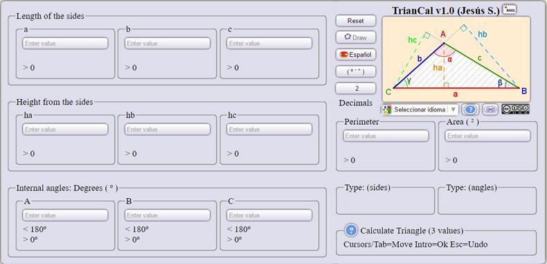 Calculadora de triángulos para estudiantes online