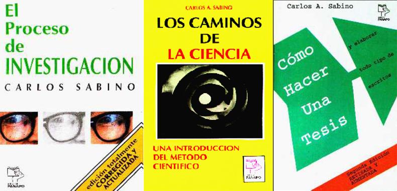 Trilogía sobre temas de metodología de investigación por Carlos Sabino en PDF