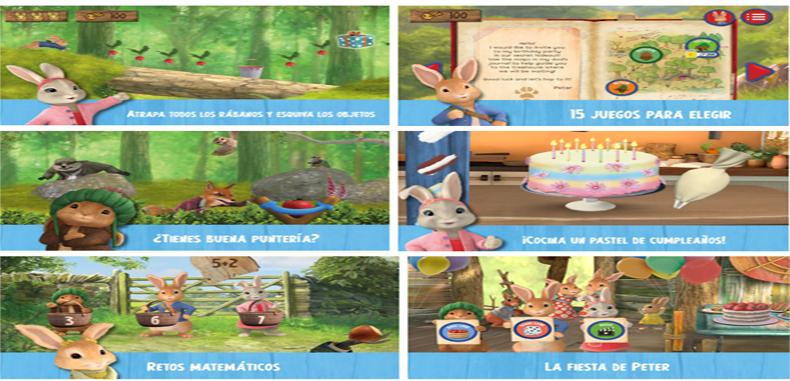 Aplicación Infantil Peter Rabbit y su fiesta de cumpleaños