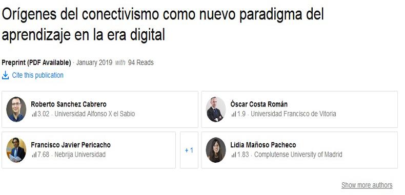 Orígenes del conectivismo como nuevo paradigma del aprendizaje en la era digital. PDF.