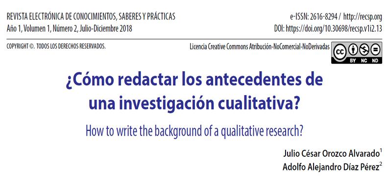 ¿Cómo redactar los antecedentes de una investigación cualitativa? En PDF