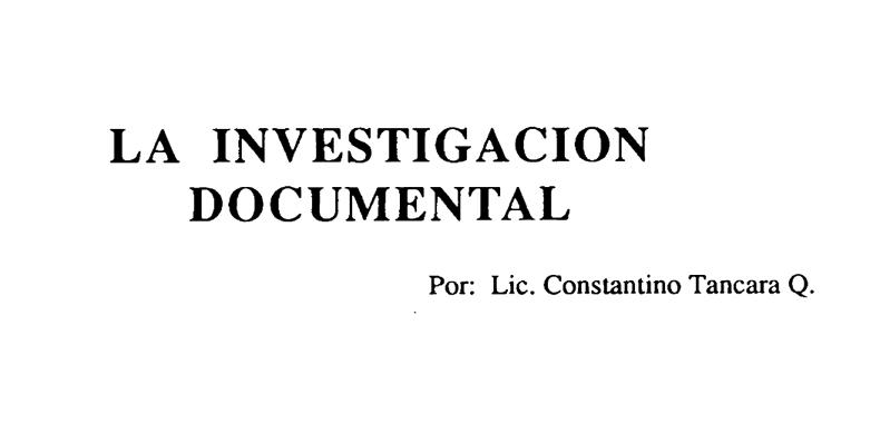 'Investigación Documental' por Lic. Constantino Tancara Q. en PDF