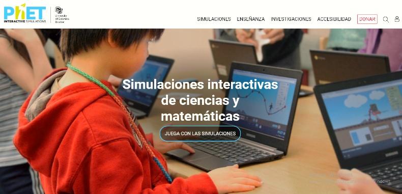 PhET, una plataforma de simulaciones interactivas para docentes y comunidad.
