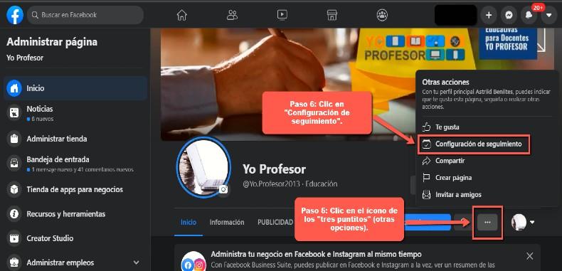 Activa y recibe las notificaciones de la página de Facebook Yo Profesor.